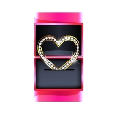 Pink gift box with jewelry heart vector