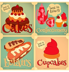 Sweet cakes retro card vector