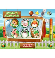 Game template with farm theme vector image