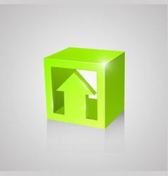 box with arrow green vector image