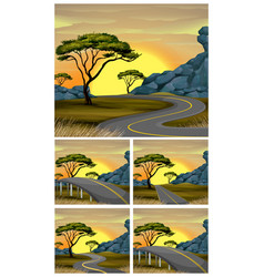 Scenes of road to countryside at sunset vector