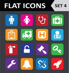 Universal colorful flat icons set 4 vector
