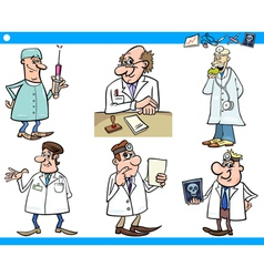 Cartoon medical staff characters set vector