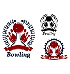 Bowling game sporting emblem or symbol vector