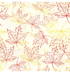 Seamless pattern with watercolor maple leaves vector