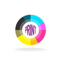Print shop round logo template vector