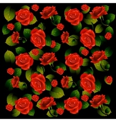 Buds of red roses with green leaves vector