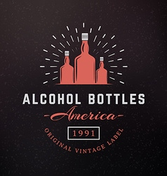 Alcohol bottles vintage retro design elements for vector