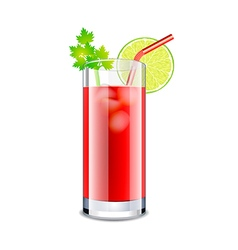 Bloody mary cocktail isolated on white vector