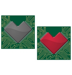 Motherboard heart vector