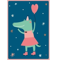 Card with funny crocodile girl vector