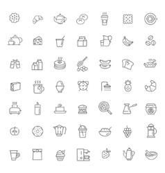 Outline breakfast icons vector
