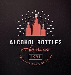 Alcohol Bottles Vintage Retro Design Elements for vector image