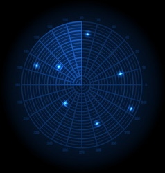 Blue radar screen vector image