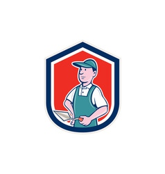 Bricklayer mason plasterer shield cartoon vector