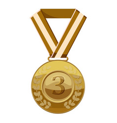 Bronze medal with number three icon cartoon style vector