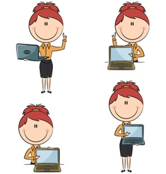 business ladies with laptop vector image
