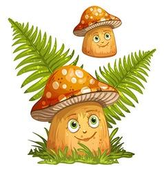 Cartoon mushrooms and ferns vector image