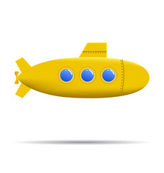 cartoon submarine realistic yellow submarine on vector image