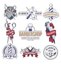 Collection badges logos with barbershop tools vector