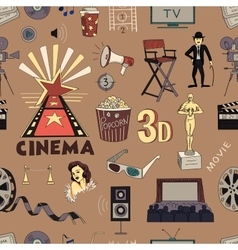 Colored Hand drawn cinema pattern vector image vector image