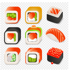 Colorful japanese food cartoon style design icons vector