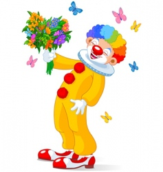 cute clown with flowers vector image