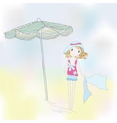 Cute girl on a seaside vector