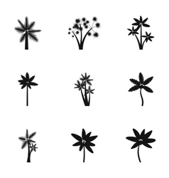 Different palm icons set simple style vector