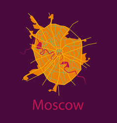 flat color map of moscow all objects are located vector image vector image