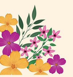 Flowers leaves flourishes image vector