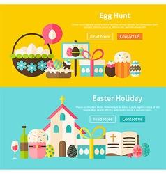 Happy easter flat website banners set vector