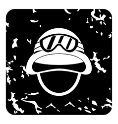 Hat and sunglasses tanker icon grunge style vector