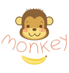 head cute cartoon monkeys and banana vector image