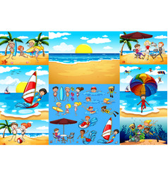 Ocean scenes with tourists having fun vector
