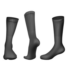 realistic football socks black template vector image vector image