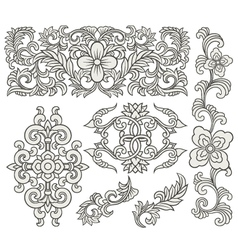 scroll element set vector image vector image