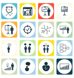 Set of 16 executive icons includes report vector