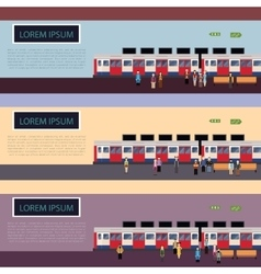 Set of subway train banners vector