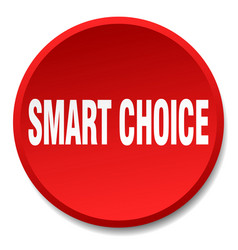 Smart choice red round flat isolated push button vector