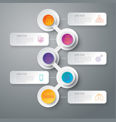 Timeline infographics design with 5 options vector