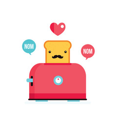 toaster and funny hipster toasted bread with vector image