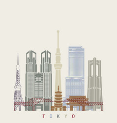 Tokyo v2 skyline poster vector