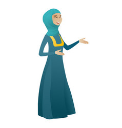 Young muslim happy business woman gesturing vector