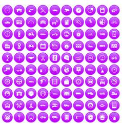 100 garage icons set purple vector