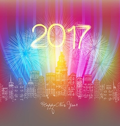 happy new year neon greeting Fireworks in the city vector image