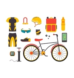 Bicycle and accessories set sportive lifestyle vector