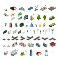 City Map Constructor Isometric Elements Collection vector image