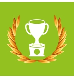 trophy sport olympic blue badge vector image