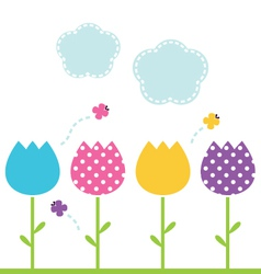 Cute spring garden Tulips isolated on white vector image